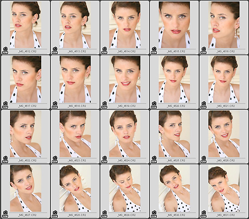Jazmin Contact Sheet : Natural Light only.