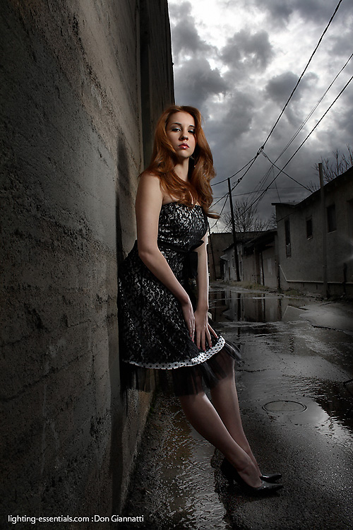 Making your own reality with two small strobes, an alley and a willing model