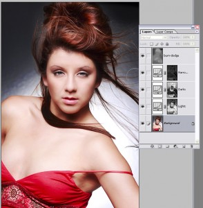 Keep your opacity at no more than 10% so you can gently add highlights and shadows into the image.