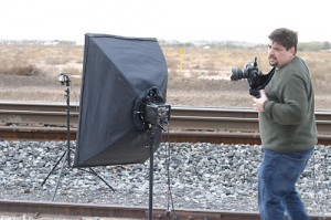 Setting up on the tracks for a shot of Christina, Jim takes a call.