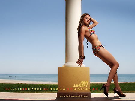 Priscilla in Swimsuit for lighting essentials desktop