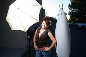 Briana and the bounce umbrella shot