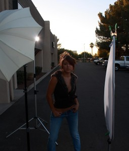 Showing mix of backlight and ambient backlight for the shot of Briana with a bounce umbrella.