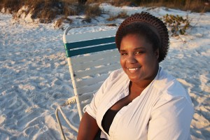 Our Wonderful Makeu Up Artist in the sun on the beach.