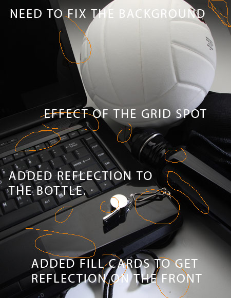 Adjustment to the shot and Photoshop Notes: A Product Shot for Lighting Essentials and a tutorial for Photographers