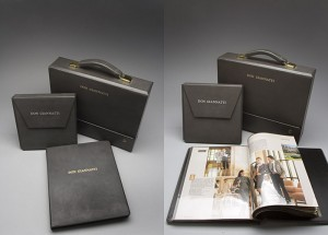 Older Brewer Cantelmo custom book for photographers portfolio. Gray leather with embossed name.