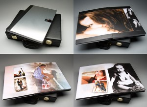 "a large 12x19 book with 1/4"" stainless steel cover. Portrait and wedding photography"