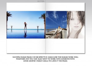 Notice how this spread shows 3 images that support each other and keep the viewer on the page.