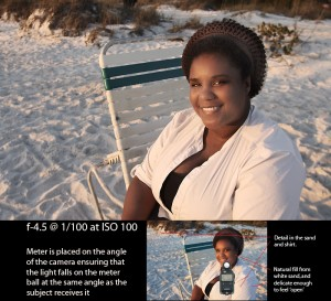 A simple photograph of our MUA with late afternoon sun. A simple ambient meter solution.
