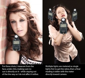 On the left is a simple natural light exposure and on the right is a more complex three shot reading.