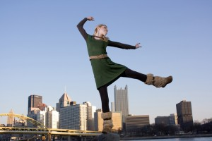 Caitlin dancing against the background of Pittsburgh. Blending the light to match the background gives the shot a very natural look, not 'flashed' at all.