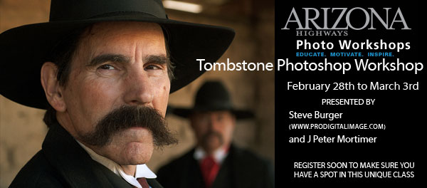 Learn Photoshop and Photography with Steve Burger and J Peter Mortimer in Tombstone, Arizona