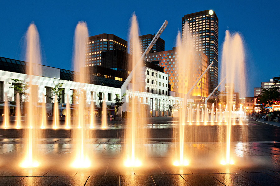 Architecture Photography: Water works at Place des Festivals, Quartier des Spectacles, Downtown Montreal, Quebec, Canada