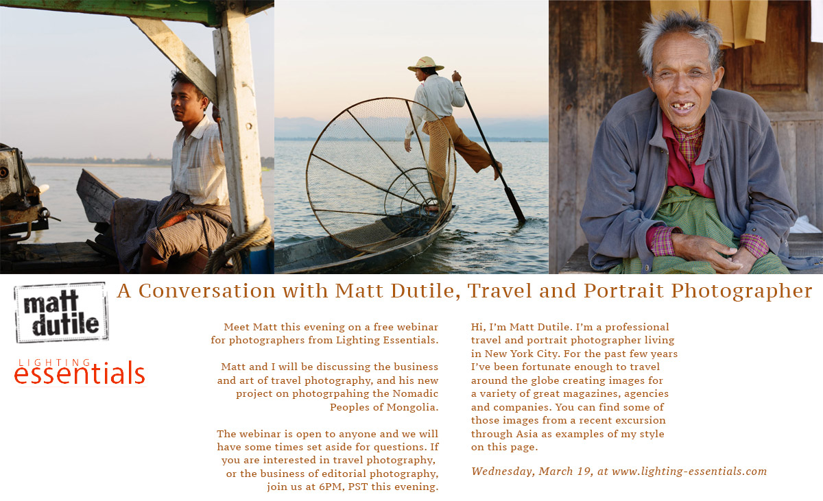 This Evening: Meet with Matt Dutile, Editorial and Travel Photography